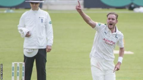 Stuart Broad's two wickets in an over after lunch livened up the contest at Trent Bridge