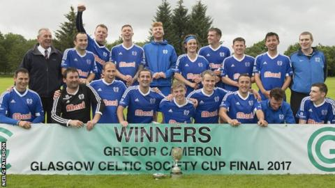 Kyles Athletic celebrate winning the Celtic Society Cup for the fifth year in a row