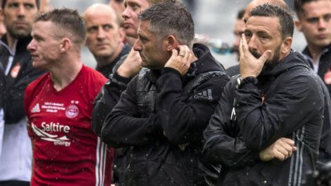 Derek McInnes looks dejected after losing the Scottish Cup final to Celtic