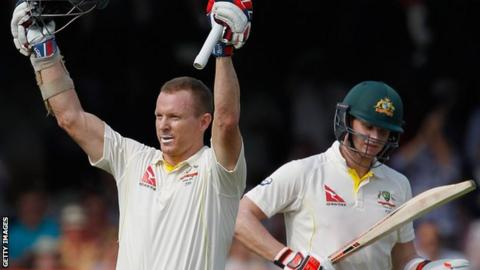 Australia's Chris Rogers celebrates his century at Lord's