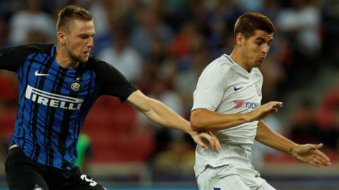 Chelsea's Alvaro Morata and Inter's Daniele Padell
