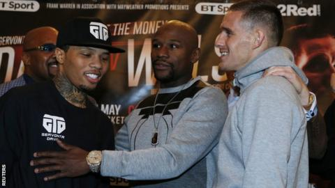 Floyd Mayweather (centre) is promoting Gervonta Davis (left) who fights Liam Walsh on Saturday.