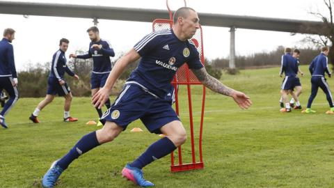 Scotland training with Scott Brown pictured