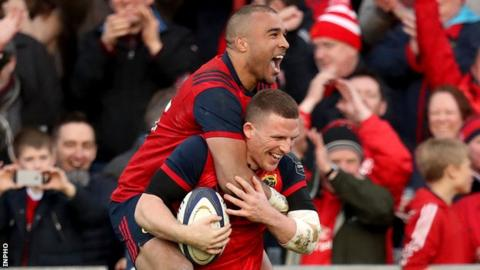 Simon Zebo celebrates with Andrew Conway after the latter's try in Saturday's Champions Cup win over Toulouse