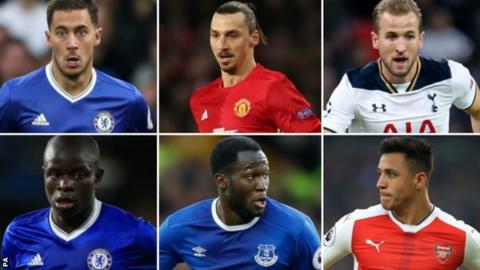 (top left to bottom right) Eden Hazard, Zlatan Ibrahimovic, Harry Kane, N'Golo Kante, Romelu Lukaku, Alexis Sanchez