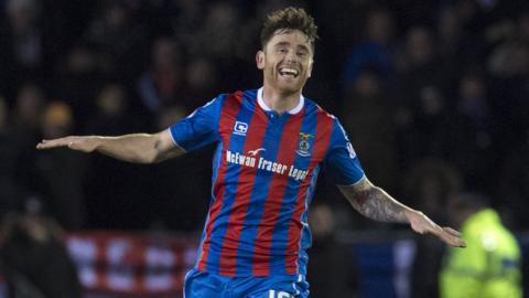 Greg Tansey celebrates after his cracking strike from distance gave Inverness the lead against Rangers