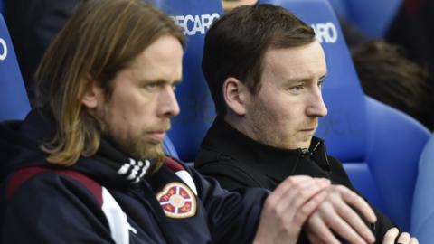New Hearts team bosses Austin MacPhee and Ian Cathro at Ibrox