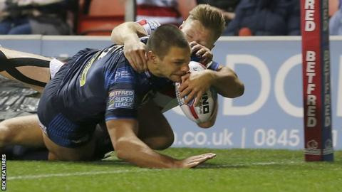 Ryan Hall try for Leeds at Leigh