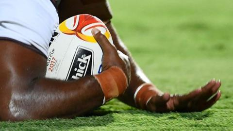 Close-up of Rugby League World Cup ball