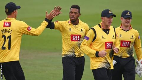 Sussex bowler Chris Jordan celebrates a wicket against Middlesex