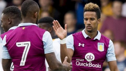 Scott Sinclair celebrates with Aston Villa