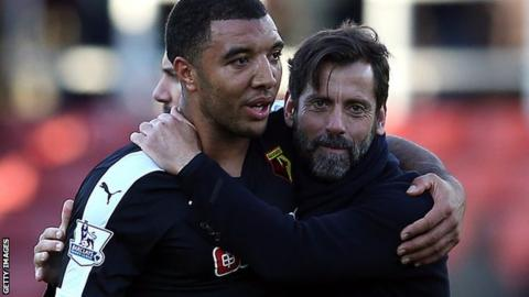 Watford captain Troy Deeney and head coach Quique Sanchez Flores