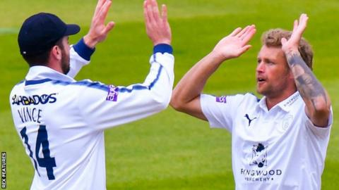 Hampshire celebrate a wicket against Yorkshire