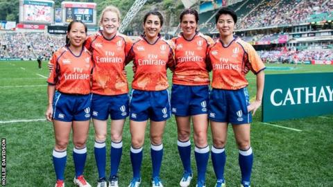 Hollie Davidson and a team of World Rugby officials at the sevens event in Dubai 2016