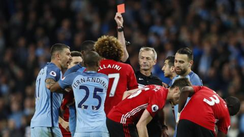 Fellaini sees red