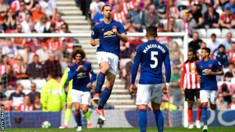 Manchester United striker Zlatan Ibrahimovic celebrates scoring against Sunderland