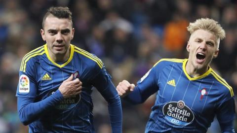 Iago Aspas celebrates goal against Real Madrid