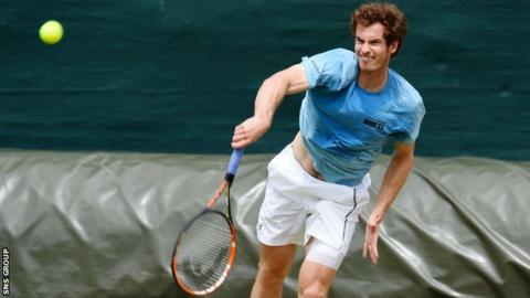 Andy Murray training at Wimbledon