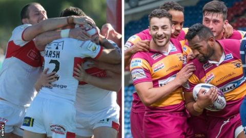 Hull KR celebrate and Huddersfield celebrate
