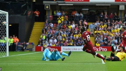 Sadio Mane scores for Liverpool against Watford