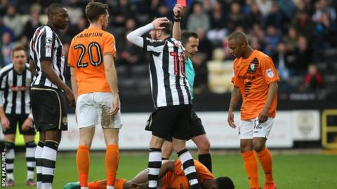 Mark Yeates sent off for Notts County against Barnet