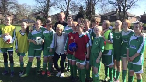 Former England international Sue Smith with Longford Girls FC