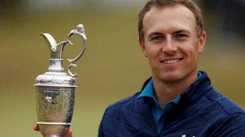 Jordan Spieth celebrates winning The Open