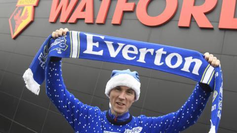 Everton fan arrives at Vicarage Road