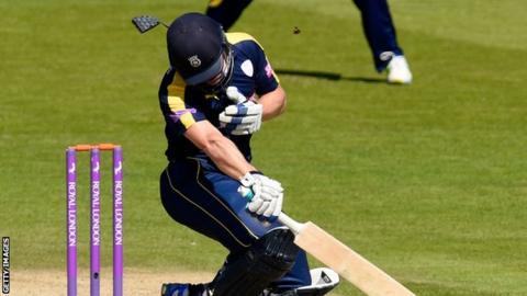 Jimmy Adams struck on helmet at Cardiff