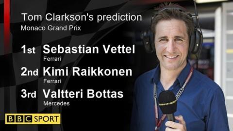 Tom Clarkson's prediction: 1st Sebastian Vettel 2nd: Kimi Raikkonen 3rd: Valtteri Bottas