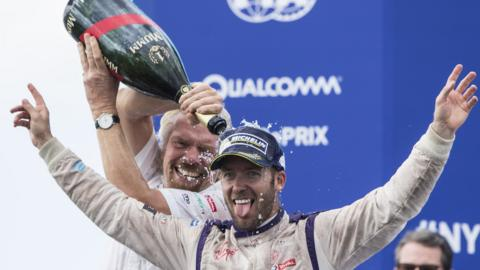 richard Branson ad sam bird celebrate winning in Formula E