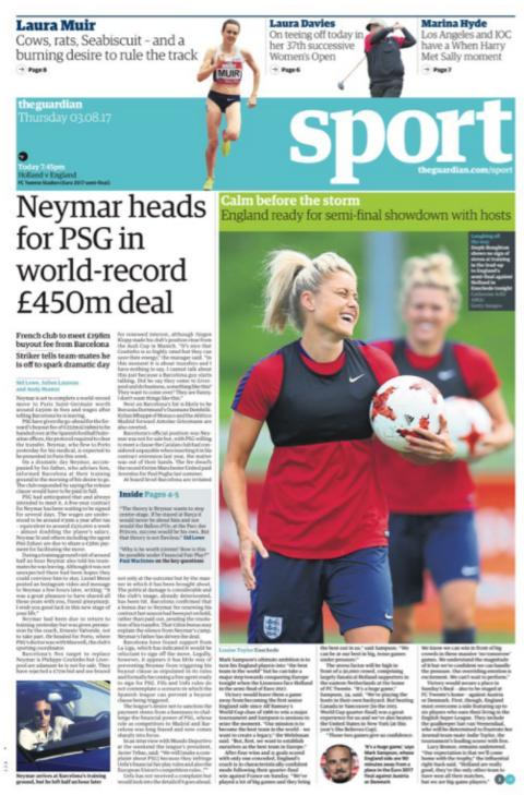 Guardian sport section on Thursday