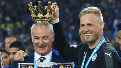 Claudio Ranieri (left) and Kasper Schmeichel