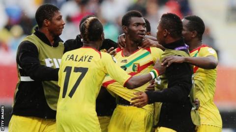 Adama Traore of Mali celebrates