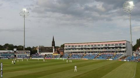 The rare site of cricketers in whites under lights at Headingley