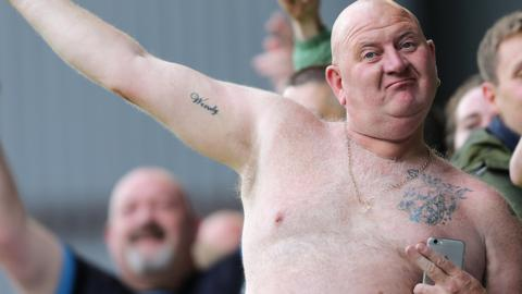 Sheffield Wednesday fans celebrate at Burnley