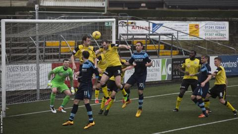 City defend a corner as Forfar go in search of the opening goal at Station Park