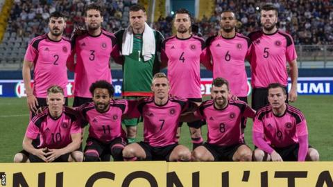 The Scotland team which started against Italy pose for a pre-match photo