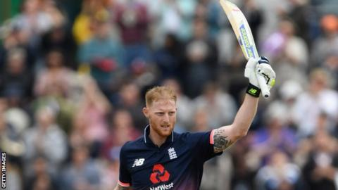 Ben Stokes celebrates hitting a century during the second one-day international against South Africa