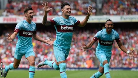 West Ham players celebrate scoring against Arsenal at the Emirates