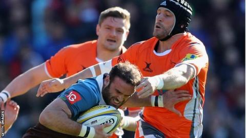 Jamie Roberts in action for Harlequins against Newcastle Falcons