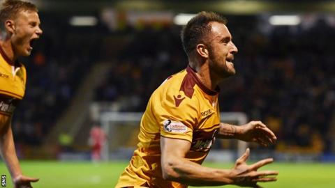 Motherwell's Peter Hartley celebrates his goal to make it 2-0.