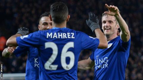 Leicester players celebrate a goal
