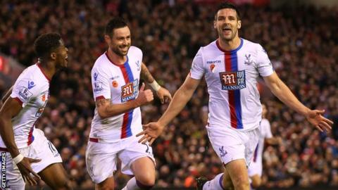 Scott Dann celebrates scoring for Crystal Palace