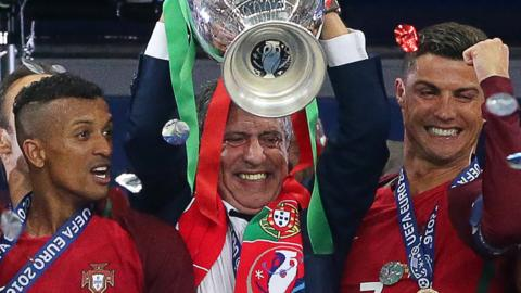 Fernando Santos with the Euro 2016 triphy