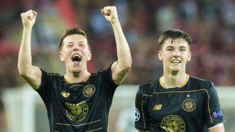 Callum McGregor celebrates with Kieran Tierney