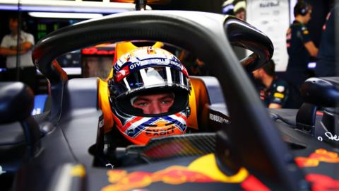 Red Bull's Max Verstappen testing his car fitted with the halo