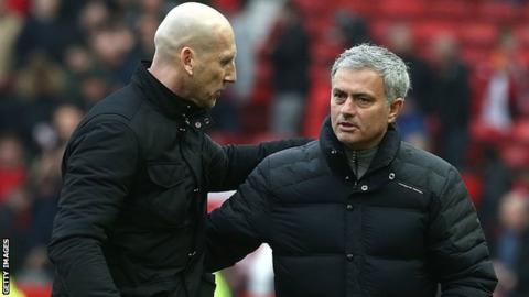 Jaap Stam and Jose Mourinho