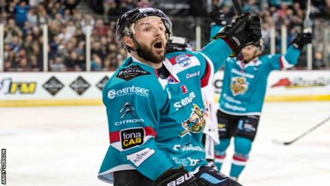 Colin Shields celebrates after putting Belfast ahead against Sheffield