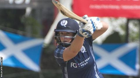 Kari Anderson plays a shot during her unbeaten half-century against South Africa